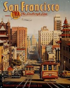 Vintage San Francisco Trolley Poster, Cityscape Illustration Wall Decor, Downtown View Wall Art, TWA Travel Art, Free Ship by ArleyArt on Etsy