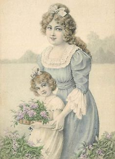 Shop Victorian Mom Daughter Picking Flowers Mother'sDay Postcard created by kinhinputainwelte. Personalize it with photos & text or purchase as is! Vintage Labels, Vintage Ephemera, Vintage Postcards, Antique Photos, Vintage Pictures, Vintage Images, Mother's Day Greeting Cards, Vintage Greeting Cards, Decoupage Vintage