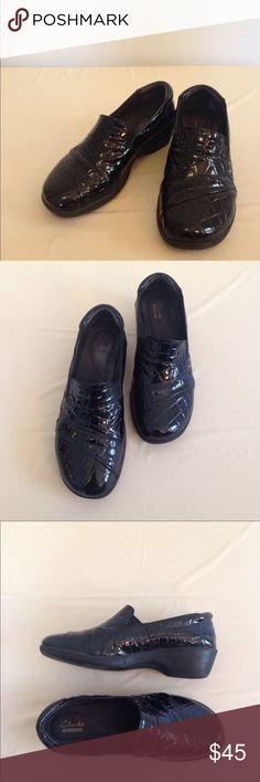 "Clarksville black shoes size 7.5 Clarksville black shoes size 7.5. Black faux crocodile pattern. 1.5"" platform. Good condition Clarks Shoes"