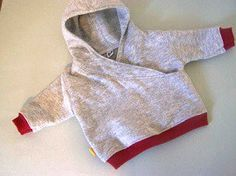 Tricia from Made By Me & Shared With You made this awesome little hoodie for a newborn baby.  The lapped front is cool, modern detail but it also makes for easy on / easy off over a baby'…