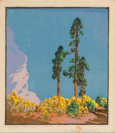 "Gustave Baumann (1881-1971 Santa Fe, NM)    ""Three Pines""    , Color woodcut on Zanders Bergisch , Gladbach cream paper 10.75"" x 9.5"""