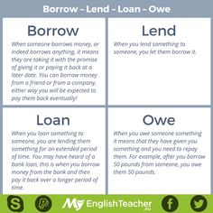 Borrow – Lend – Loan – Owe - Repinned by Chesapeake College Adult Ed. We offer free classes on the Eastern Shore of MD to help you earn your GED - H.S. Diploma or Learn English (ESL) . For GED classes contact Danielle Thomas 410-829-6043 dthomas@chesapeke.edu For ESL classes contact Karen Luceti - 410-443-1163 Kluceti@chesapeake.edu . www.chesapeake.edu