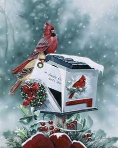holly branch and cardinal painting on canvas - Google Search Vintage Winter, Christmas Paintings, Winter Art, Bird Feeders, Fine Art Prints, Christmas Ornaments, Wall Art, Canvas, Holiday Decor
