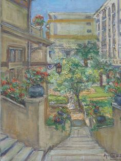 French oil painting . Jardin à Nice Alfred Cluzeau by Albanegalery, $140.00