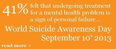 World suicide awareness day is Sept. 10, 2013. (For help with social anxiety, visit akfsa.org.)