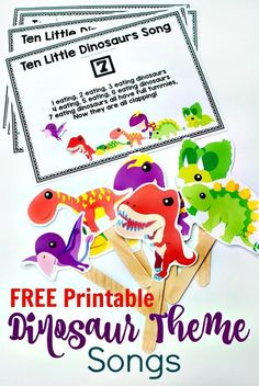 Gross Motor 10 Little Dinosaurs Song with FREE Printable -Get the kiddies moving with this fun circle time song for preschoolers. Perfect for any dinosaur theme. Also a fun counting song. Includes a free printable. Dinosaur Classroom, Dinosaur Theme Preschool, Dinosaur Printables, Preschool Songs, Free Preschool, Preschool Themes, Preschool Printables, Preschool Crafts, Dinosaur Dinosaur