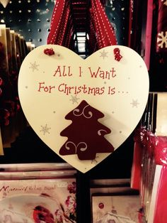 """""""All I want for Christmas"""" tree decoration love heart."""