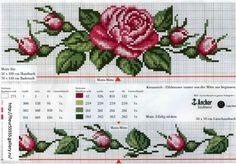 rose flower cross stitch for rida Cross Stitch Boarders, Cross Stitch Bookmarks, Cross Stitch Charts, Cross Stitch Designs, Cross Stitching, Cross Stitch Embroidery, Cross Stitch Patterns, Cross Stitch Needles, Cross Stitch Rose