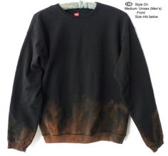 Black Sweatshirt, Black crewneck sweatshirt -  Dip dye// acid wash// sweater// crew neck// sweatshirt// Boho// Grunge by Styleon on Etsy