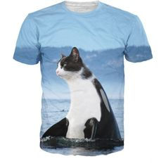 6708900db9c Orca Cat T-Shirt a black and white cat with a cute little cats head unisex  print women summer t shirt outwear short sleeve