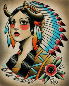 """Native Girl,"" Original Painting (and prints) at Parlor Tattoo Prints by Quyen Dinh"