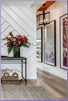 A beautiful entry way inside this transitional home. Wall details play like artwork home entryway, dramatic home foyer, dramatic front entrance, dramatic front entryway, custom Entryway Table Modern, House Design, Transitional House, Small Entryway Table, House Styles, Modern Interior Design, Hallway Designs, Home Interior Design, Modern Interior