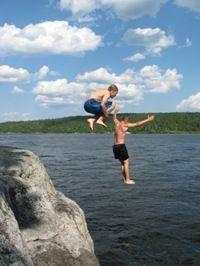 Refreshing summer swim at Williams Lake Lodge