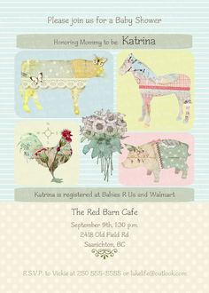 PRINTABLE Baby Shower Invitation - Vintage Farm Theme - PERSONALIZED (Style 13088) on Etsy, $14.50 CAD