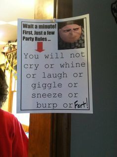 Party Rules for a minion party.