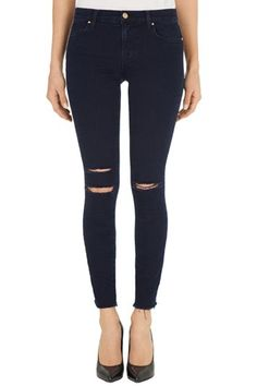Shop 8227 Photo Ready Ankle Skinny Jean in Blue Mercy from J Brand. Be noticed in our mid-rise denim fit that makes a statement. All Jeans, Black Ripped Jeans, Cropped Skinny Jeans, Distressed Skinny Jeans, All Black Fashion, Denim Fashion, High Fashion, J Brand Jeans, Autumn Winter Fashion