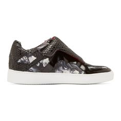 Giuliano Fujiwara: Black Abstract Print Sneakers
