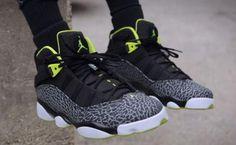 NIKE JORDAN 6 RINGS BLACK/VENOM GREEN-WHITE-CEMENT GREY #sneaker