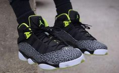 NIKE JORDAN 6 RINGS BLACK/VENOM GREEN-WHITE-CEMENT GREY #sneaker