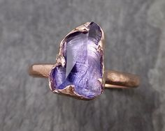 Partially faceted Tanzanite Crystal rose Gold Ring Rough Uncut Gemstone Solitaire recycled 14k byAngeline 0982