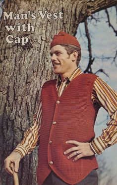 Mans Vest with Cap Knitting Pattern 1973 - Eek!