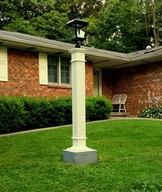 DIY   Hide an ugly exposed well head with a custom wooden lamp post and  solarlamp post mailbox idea with a solar light  And a flower planter  . Outdoor Lamp Post Light Solar. Home Design Ideas
