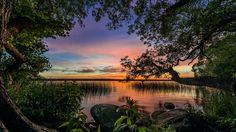 Sky Lakes skaly Lake slnka na View trávy Stromy Úvahy Nature Sunset Sunrise Desktop Download