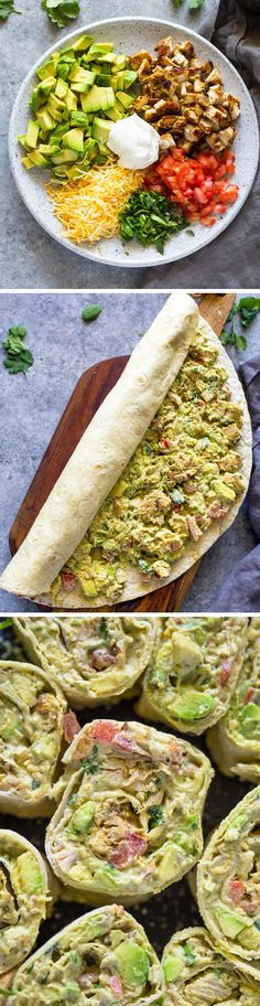 Quick 10 Minute Chicken and Avocado Roll-ups (Vegan Casserole Mexican)