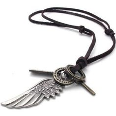 KONOV Jewelry Vintage Style Angel Wing Cross Pendant Genuine Leather Necklace Chain (with Gift Bag)  http://electmejewellery.com/jewelry/necklaces/konov-jewelry-vintage-style-angel-wing-cross-pendant-genuine-leather-necklace-chain-with-gift-bag-com/