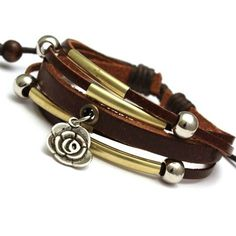 Flower Charm Leather Bracelet £8
