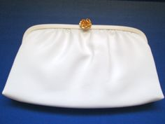 Vintage After Five White Clutch Purse Evening Bag Made in USA Carved Rose Clasp