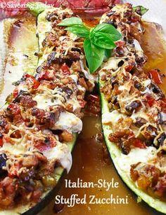 Italian-Style Stuffed Zucchini recipe for a delicious way to enjoy an abundant harvest. Side Dish Recipes, Pork Recipes, Veggie Recipes, Paleo Recipes, Appetizer Recipes, New Recipes, Dinner Recipes, Cooking Recipes, Favorite Recipes