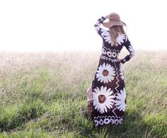 Vintage 60s 70s Bohemian Hippie Dress Floral by RubyChicBoutique