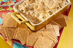 "from Nabisco: ""Put a yummy recipe into play and try out this Chicken Enchilada Dip with WHEAT THINS during the Big Game."""