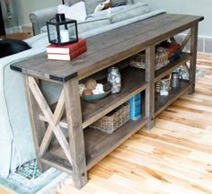 sofa table like this, with no shelves... diff wood of course..