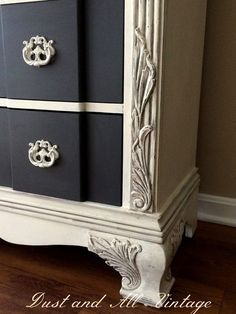 A lovely dresser finished in Old White Chalk Paint® decorative paint by Annie Sloan | By Dust and All Vintage www.facebook.com/... - Picmia