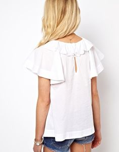 Blouse With Ruffle Collar And Fluted Sleeve