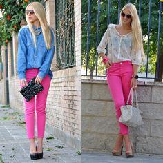 fucsia jeans