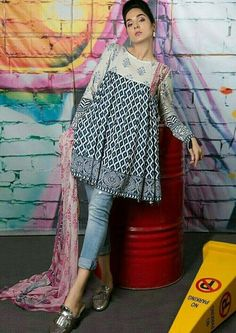 Kurti with jeans - Crazy Jeans with Frock for Upcoming Summer Fashion Look Designers Outfits Collection Pakistani Fashion Casual, Pakistani Dresses Casual, Indian Fashion Dresses, Pakistani Dress Design, Indian Designer Outfits, Kurti Pakistani, Kurti Neck Designs, Kurta Designs Women, Kurti Designs Party Wear