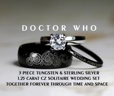 doctor who his tungsten and hers 925 sterling silver carat solitaire cz wedding ring set custom engraved - Doctor Who Wedding Ring