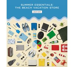 Summer Essentails: The Beach Vacation Store. Shop now