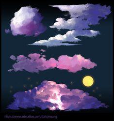 ArtStation - 云系列4, yiru wang Digital Painting Tutorials, Digital Art Tutorial, Art Tutorials, Concept Art Tutorial, Background Drawing, Sad Art, Tips & Tricks, Environment Concept Art, Art Graphique