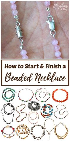 How to Start and Finish a Beaded Necklace or Bracelet DIY Jewelry Making Tutorials & Simple Ideas for Beginners! Learn 3 easy ways to start and finish a beaded necklace or bracelet; infinity, clamshell knot covers, and crimp beads or tubes and pliers. Wire Jewelry, Jewelry Crafts, Beaded Jewelry, Jewelery, Silver Jewelry, Gold Jewellery, Body Jewelry, Diy Beaded Necklaces, Jewelry Necklaces