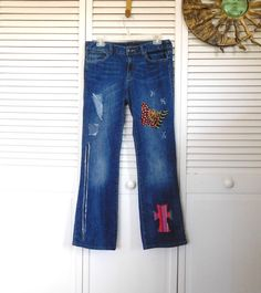 Patched Jeans Upcycled Clothes Boho Jeans Low by LandofBridget