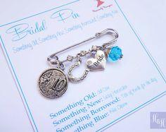 Bridal Pin Something Old New Borrowed Blue Wedding Pin