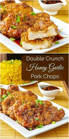 Double Crunch Honey Garlic Pork Chops. Juicy on the inside but super crunchy on the outside, these double dipped pork chops get dipped in an easy, flavourful Honey Garlic Sauce. One of our very first viral online recipes and it's still going strong!