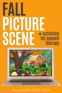 Fall picture scene for speech therapy. Use one activity for all your language students to target multiple speech and language goals! Activities to accompany this autumn language scene include WH questions, following directions, prepositions, verbs, basic concepts, categories, and more. You can print or open on a device for a NO PREP, NO PRINT option. Perfect for in-person speech therapy or teletherapy with kids in kindergarten, 1st, 2nd, & 3rd grade. Speech Therapy Activities, Language Activities, Learning Activities, Speech Language Pathology, Speech And Language, Nouns And Pronouns, Multiple Meaning Words, Writing Pictures, Wh Questions