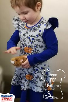 Sew a sweet dress for kids with this free pattern.  Sewing instructions in Finnish language included. Download a PDF-pattern for free or purchase a printed copy. Finnish Language, Free Pattern, Pattern Sewing, Sweet Dress, Prints, Kids, Patterns, Dresses, Young Children