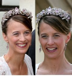 A double photo of Princess Xenia Hohenlohe Langenburg, wearing a gorgeous pink topaz and diamond tiara when she married Max Soltmann on 26th August 2006. Designed as a floral tiara with two diamond and pink topaz fronds conjoining with a large central pink topaz surrounded by circular diamonds.