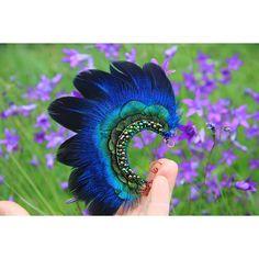 Blue Ear Cuff Blue Feather Ear Cuff Elven Ear Cuff Mermaid Ear Cuff... (260 DKK) ❤ liked on Polyvore featuring accessories, hair accessories, feather hair accessories, blue hair accessories and hair extension accessories